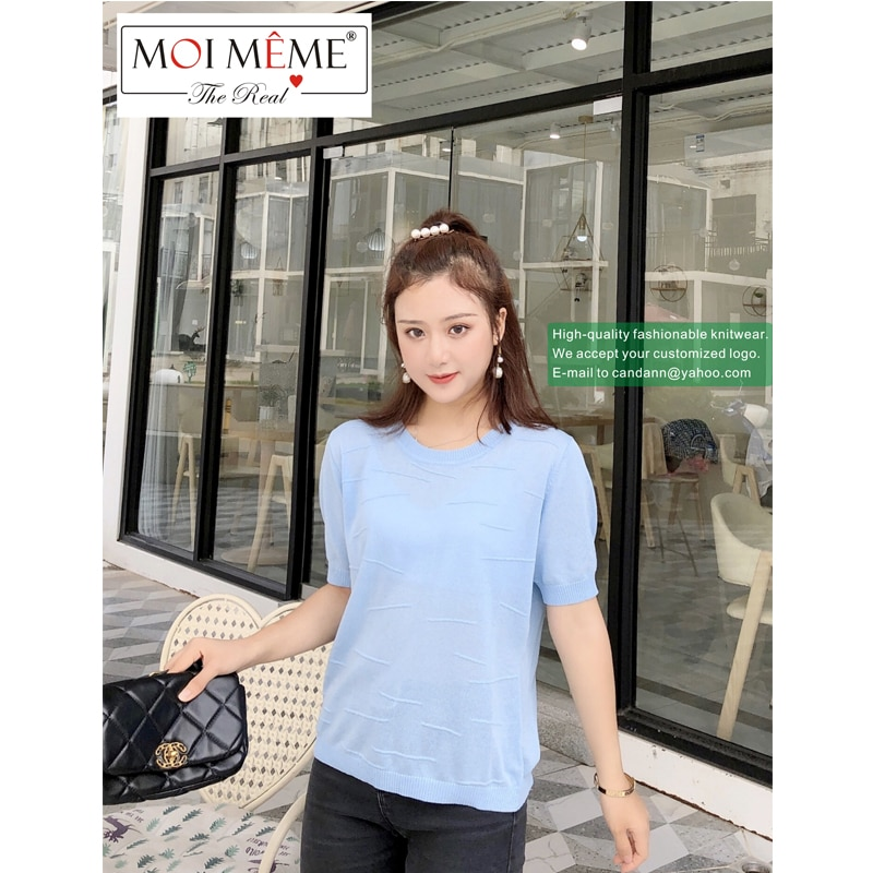 6 PCS Wholesale 2021 famous designer women fashion summer knitwear college students youth version short-sleeved O-Neck knitwear enlarge