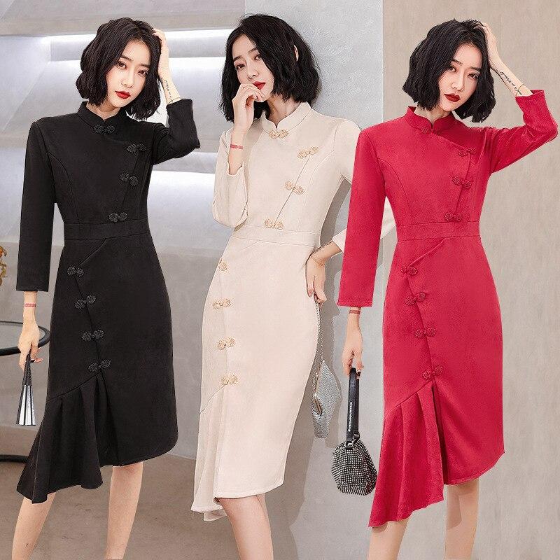 تشيباو الصينية التقليدية للنساء ، FZSLCYIYI ، حورية البحر ، شيونغسام ، حفلة أنيقة ، سيدات ، عتيق ، أكمام طويلة ، قطيفة