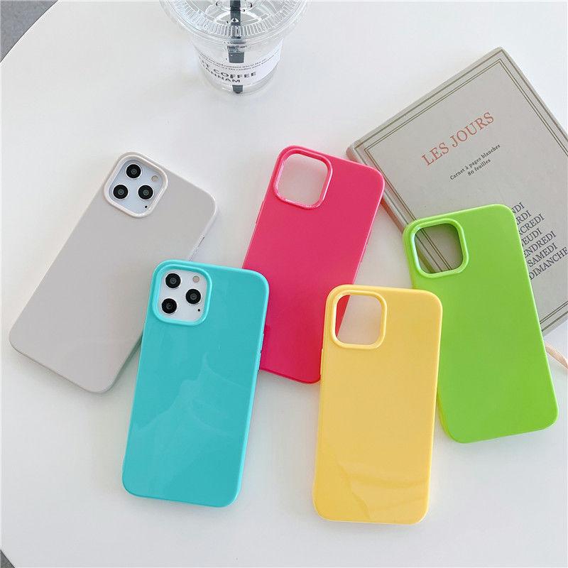 Однотонный неоновый флуоресцентный чехол для iPhone 12 11 Pro Max X XS XR 8 7 Plus SE 2020, мягкий чехол для телефона карамельного цвета, силиконовый зеленый