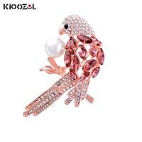kioozol luxury crystal bird red blue crystal micro inlaid cubic zirconia brooch for women animal style vintage jewelry 193 ko2