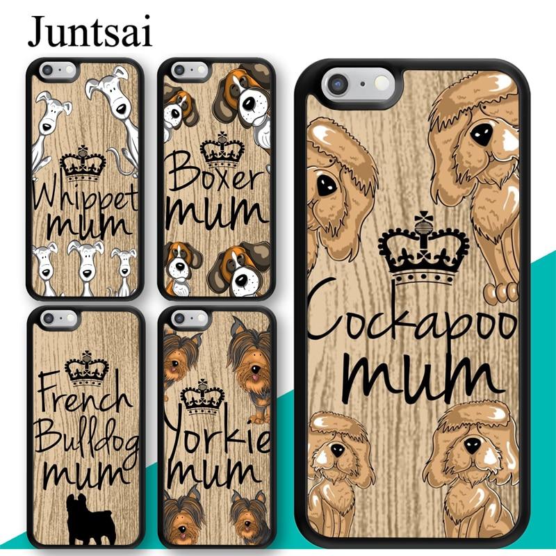 Cockapoo whippet boxer mãe cão citação caso para iphone 11 pro max xr xs max x 5S se 2020 6s 7 8 plus capa coque