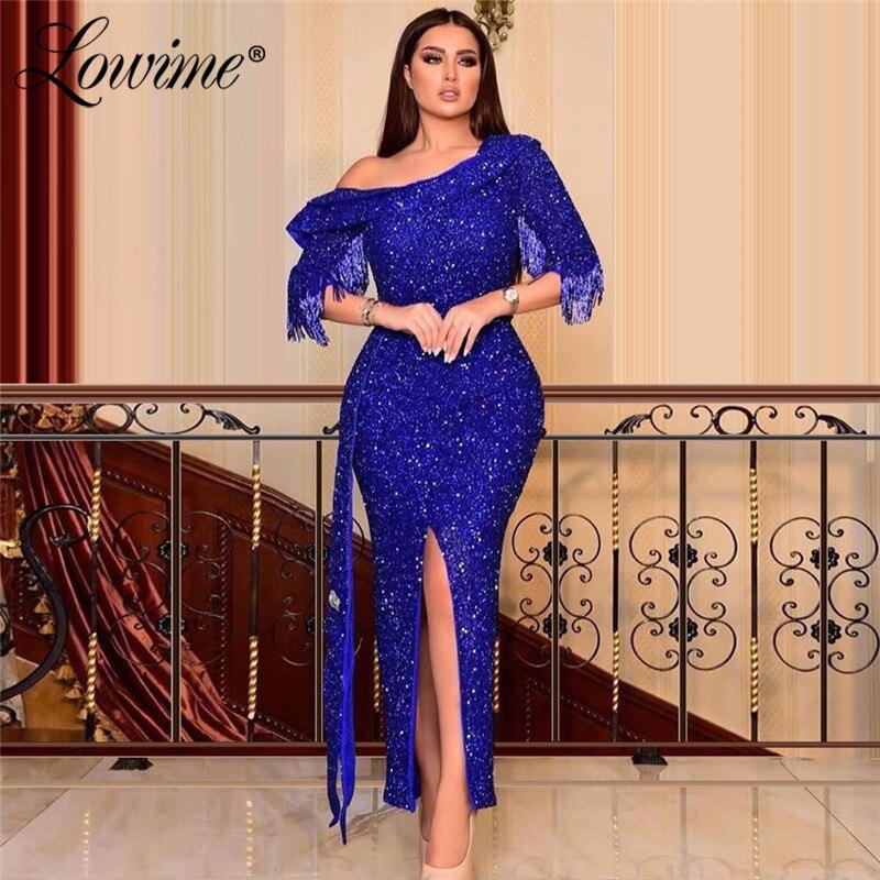 Azul lantejoulas tornozelo comprimento vestido de noite vestidos formais sereia elegante médio oriente vestido de festa feminina celebridade vestidos de baile 2020
