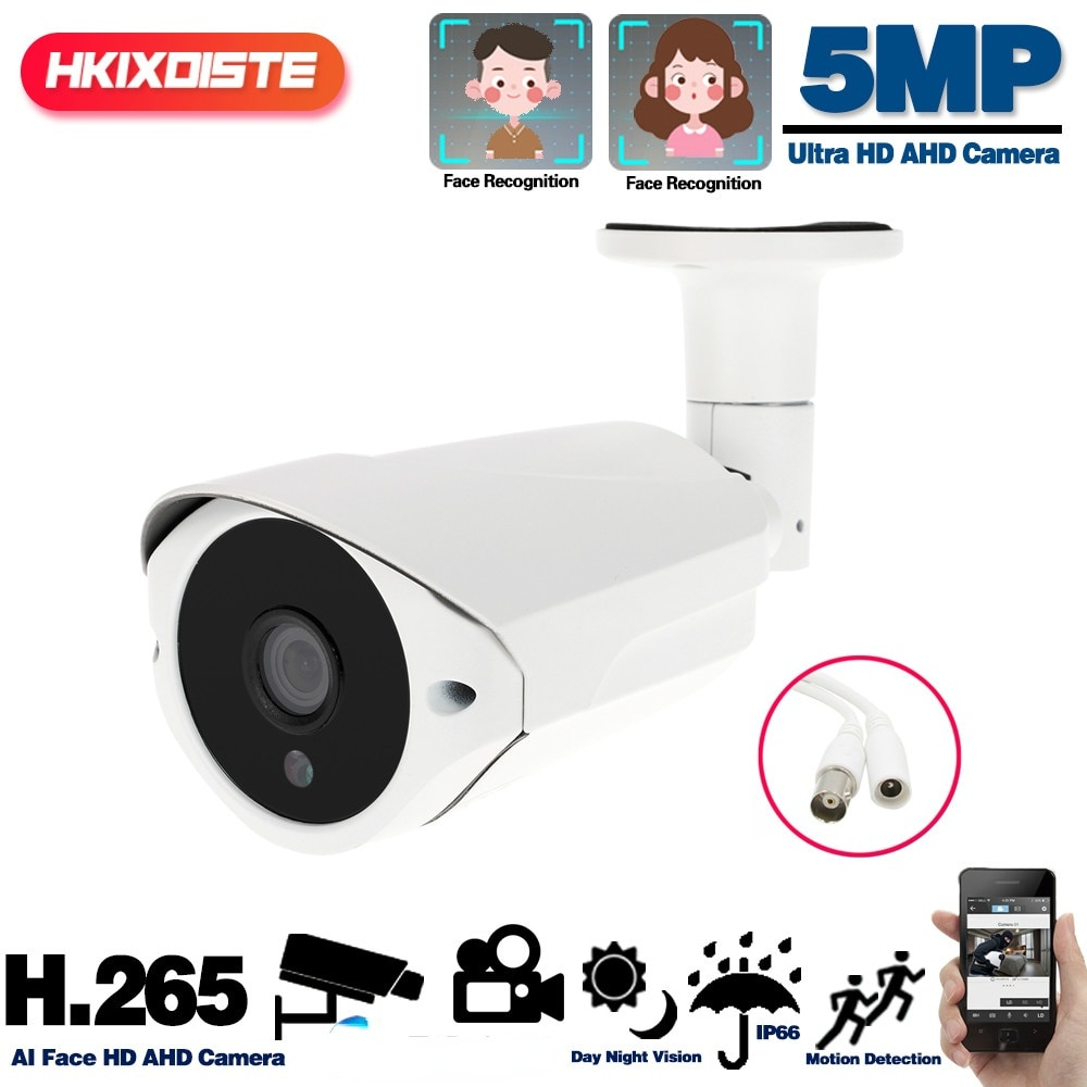AHD كاميرات الكشف عن الوجه خارج المعادن رصاصة كاميرا الأمن في الهواء الطلق مقاوم للماء CCTV الأمن كاميرا مراقبة فيديو BNC 5MP