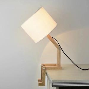 Robot Shape Wooden Table Lamp 110-240V Modern Cloth Art Study Wood Desk Table Lamp Parlor Indoor lights