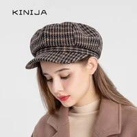 autumn women beret hat vintage lattice fedora hat winter big brim octagonal military caps ladies casual wool painter cap