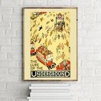 the lure of the underground retro travel poster london underground vintage wall art print