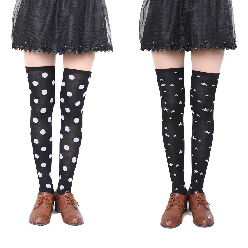 Nylon High Knee Funny Socks Womens Thigh Stockings Over for Girls Ladies Long Pentagram Happy Sexy Stocking