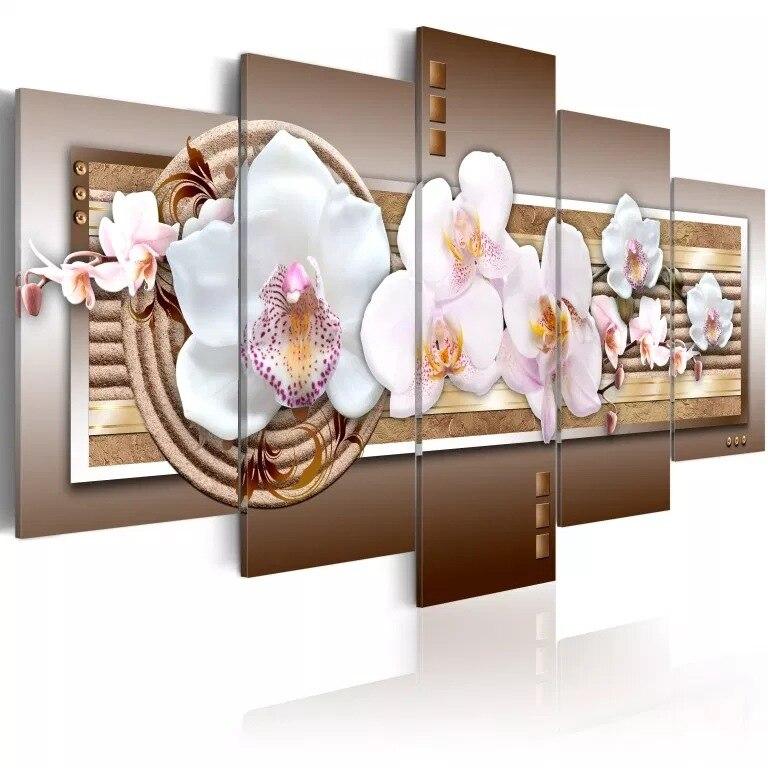 Arte griego moderno cuadro decorativo Spray-lienzo impreso 5-Marco orquídea blanco abstracto pintura deseo suministro de mercancías cruz frontera