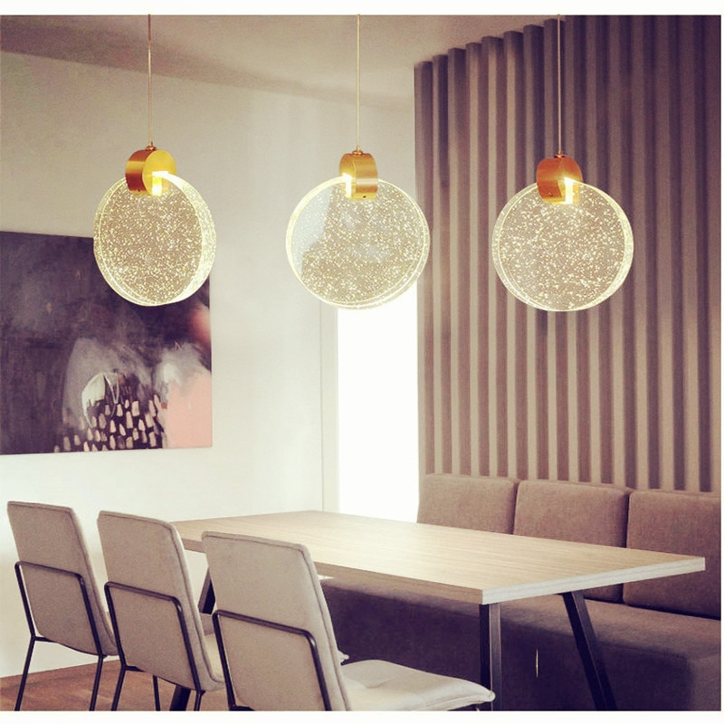 New Simple Modern LED Crystal Pendant Lights Contemporary Personality Creativity E27 Lamp for Kitchen Restaurant Cafe