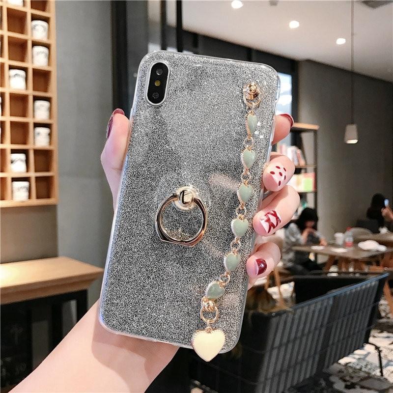 Cadena de brillo transparente de silicona con soporte de anillo de dedo para Xiaomi Red mi Note mi 6 6A 7A 8 8SE 9 9SE K20 Pro suave Capa