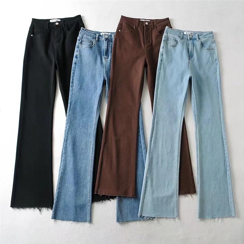 Женские джинсы с широкими штанинами, Новинка осени 2021, модные эластичные брюки-клеш с завышенной талией, облегающие однотонные брюки-клеш