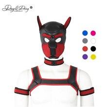 4 adet Set parti maskeleri köpek oyun köpek Hood maskesi yaka göğüs askısı kol bandı rol oynamak HeadMask Cosplay çift bdsm AC131