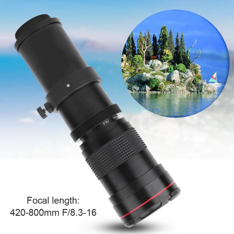 420-800mm F/8,3-16 lente de Zoom teleobjetivo súper Manual para cámara SLR fotografía de distancia para cámaras Canon para SONY DSLR