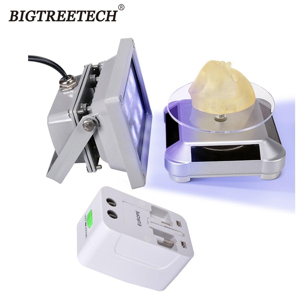 مصباح راتينج UV LED عالي الجودة 405 نانومتر ، محول طاقة شمسية ، قابس أمريكي ، قرص دوار 360 درجة للطابعة SLA DLP ثلاثية الأبعاد