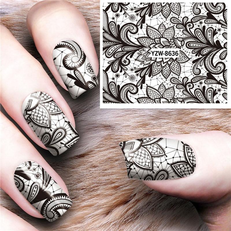 1 pegatina negra para decoración de uñas Rosa india, tatuaje con marca de agua para decoración de uñas DIY, pegatina de decoración de uñas FW023
