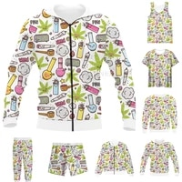 new funny 3d full print weeds kawaii cartoon t shirtsweatshirtzip hoodiesthin jacketpants four seasons casual suit v69