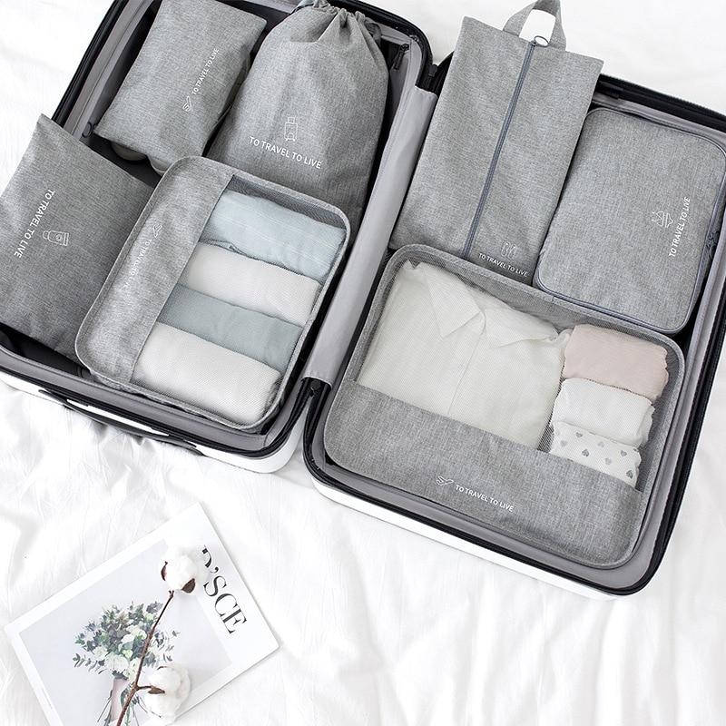 جديد سفر مجموعة 7 قطعة/المجموعة منظّم حقيبة سفر الأمتعة حقيبة التعبئة مكعب 2021 حذاء Clothe تخزين حقائب للسفر الحقيبة عدة