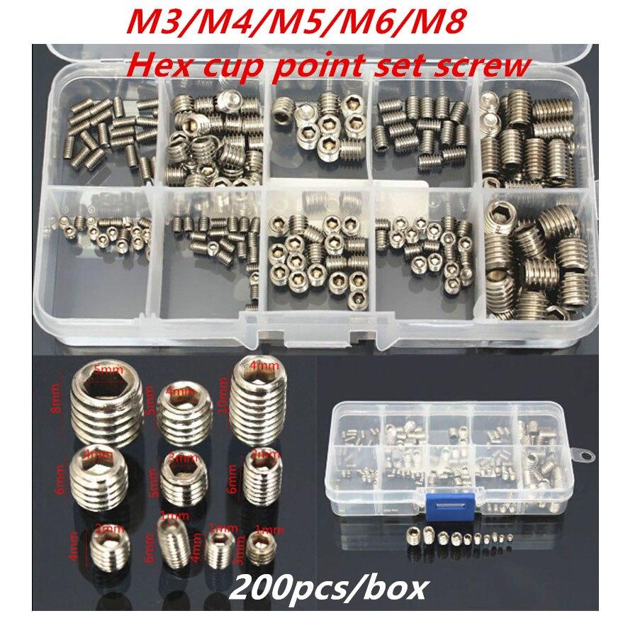200 unids/lote M3 M4 M5 M6M8 acero inoxidable 304 hexagonal socket cup point set tornillos sin cabeza surtido kit con caja 142