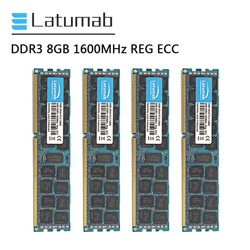 Latumab DDR3 8GB 16GB 32GB 1600MHz REG ECC خادم الذاكرة PC3-12800 240 دبابيس مسجل ECC ميموريا ذاكرة رام DDR3 وحدة الذاكرة