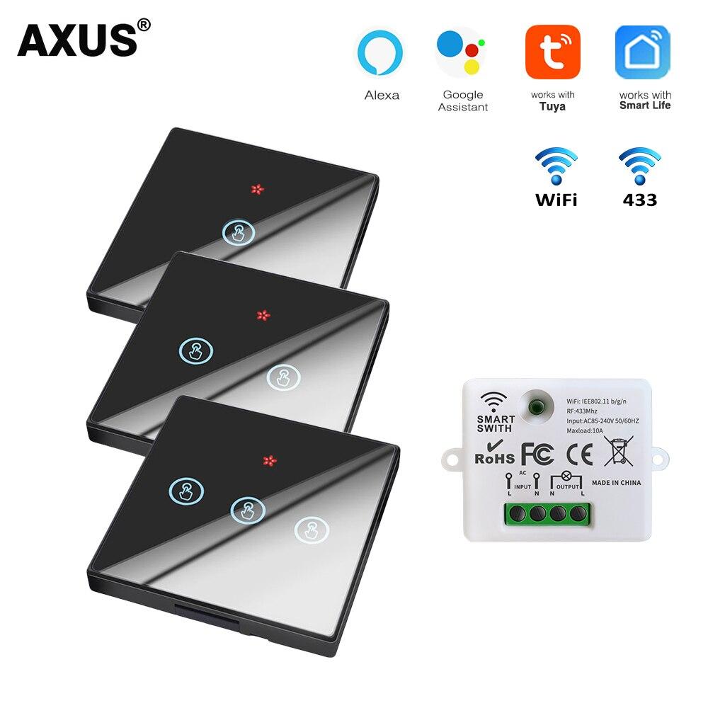 AXUS Tuya WiFi Smart Life Touch Switch Light Wireless Wall Switch Glass Panel Smart Home Module Google Home Alexa Voice Control