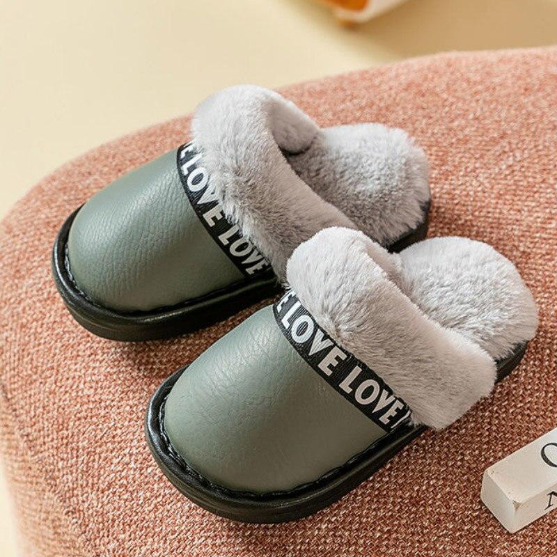 Casa das crianças sapatos de pele meninos meninas chinelos de couro interior de pelúcia masculino inverno sapatos baratos 2020
