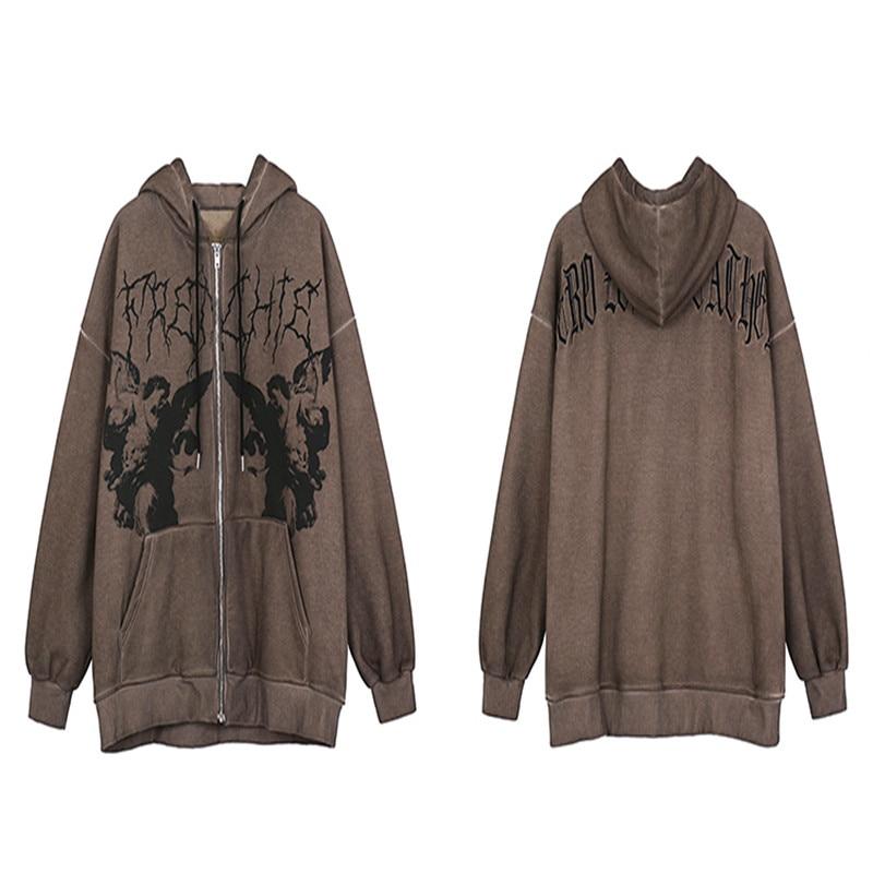 الرجال الهيب هوب الشارع الشهير مقنعين سترة الملاك الظلام طباعة سترة معطف Harajuku القطن الصوف الخريف الشتاء سترة أبلى سستة