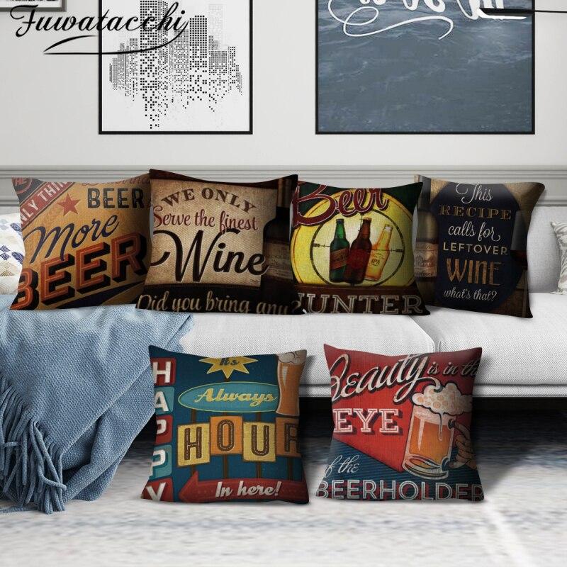 Fuwatacchi cubiertas para cojines de lino Café Bar letras impresas Happy Life sofá almohada fundas para el hogar sofá coche Dec Throw Pillowcase
