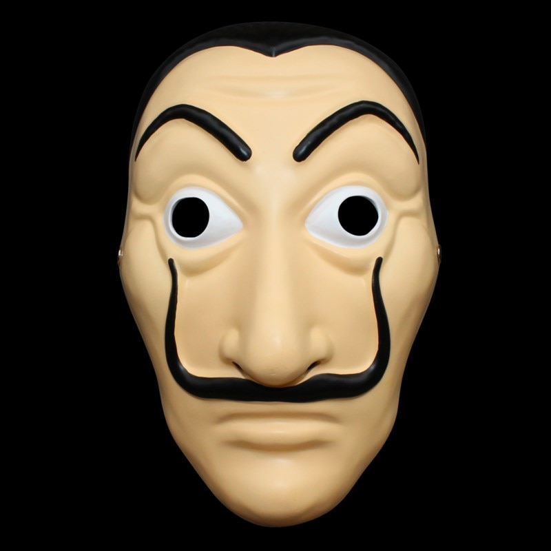 La casa de papel dinheiro assalto cosplay máscara dali máscaras festa de halloween pvc meia máscara facial prop