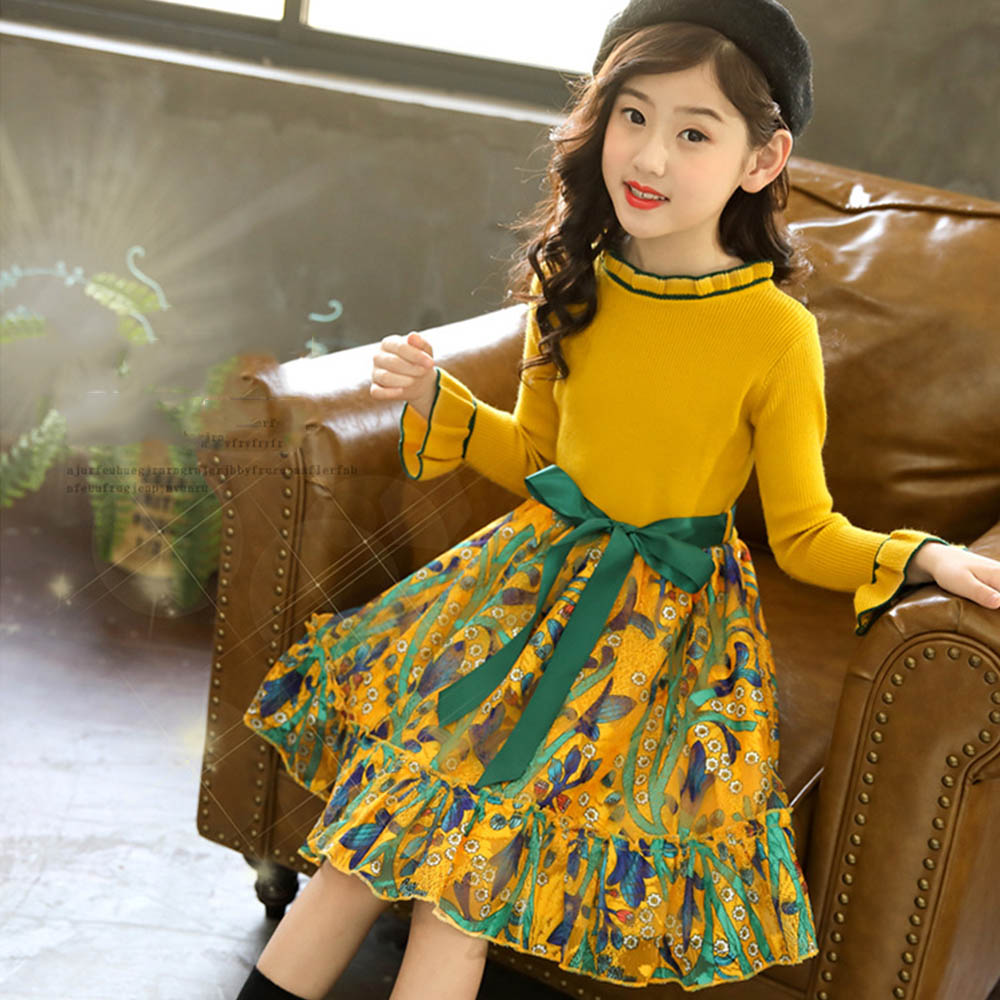 Suéter vestido Otoño Invierno primavera flores niñas princesa tejido manga larga niños vestidos para niña Bebé Ropa