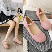Flat Shoes Women Mary Jane Ladies Shoes Flats Fall Buckle School Shoes Ballerina Flats Footwear Black Pink Big Size 9 10 33 43
