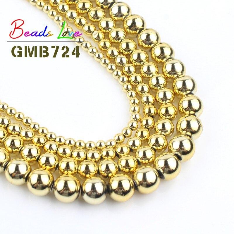 Cuentas de piedra Natural dorada hematita plateada, cuentas redondas sueltas para hacer joyería, collar de pulsera DIY, venta al por mayor, 3/4/6/8/10mm 15