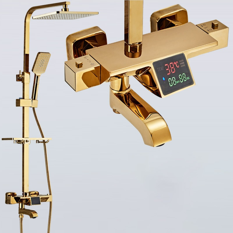 Themostatic Shower Set SDSN Quality Brass Gold Digital Bathroom Shower System Rainfall Shower Head Bath Digital Shower Set