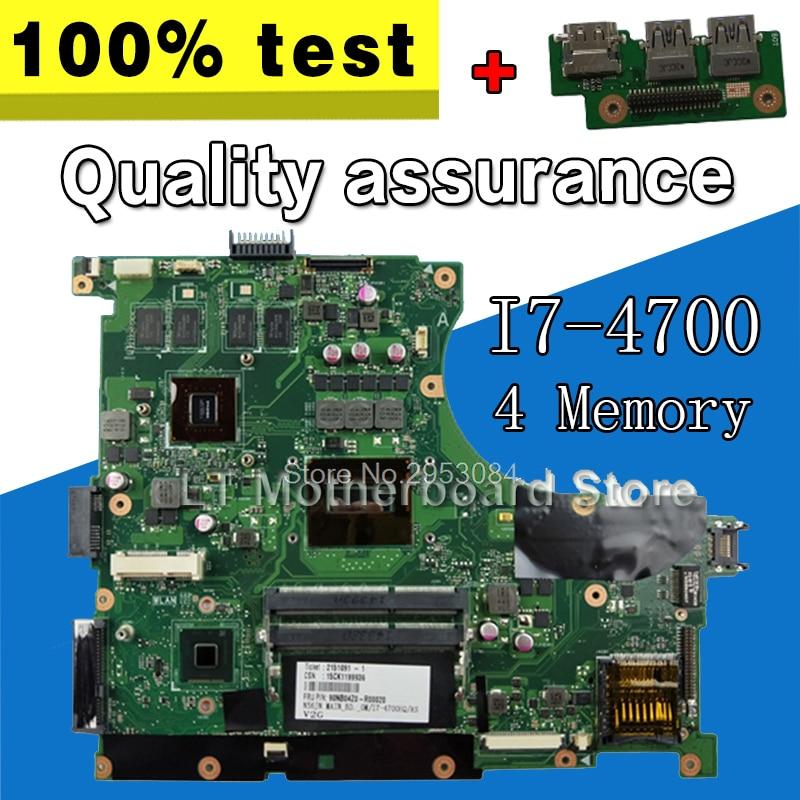 Placa de envío + placa base N56JN 4 I7-4700 de memoria REV2.0 para For Asus N56JN N56J placa base de ordenador portátil N56JN placa base N56JN