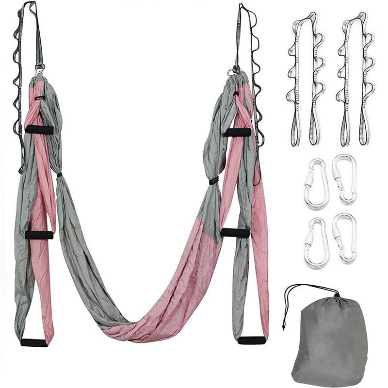 Разноцветный анти-гравитационный комплект гамака для аэройоги с удлинительным ремнем и сумкой для переноски летающие качели домашний трен...