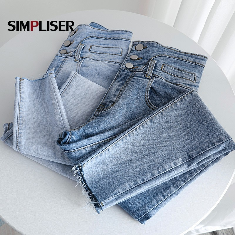 Women Stretch Denim Jeans Pants High Waist Skinny Jeans Trousers For Woman 2021 Blue Grey Washed Femme Push Up Jeans Leggings