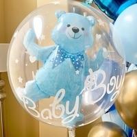 24 дюйма для маленьких девочек для новорожденных мальчиков голубой розовый в виде шара пузыря, хороший подарок на день рождения, украшения д...