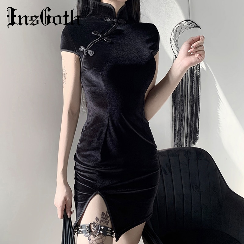 InsGoth Retro Mini Dress Women Bodycon Cheongsam Mini Dress Gothic Party Elegant Solid Black Red Pink Female Dress
