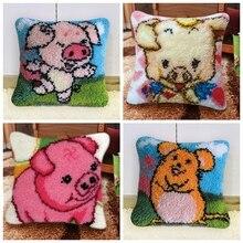 Latch hook rug kit cute Pig Pillowcase Cross-stitch carpet cushion Patchwork DIY embroidery pillowcase thread Craft Home Decor F