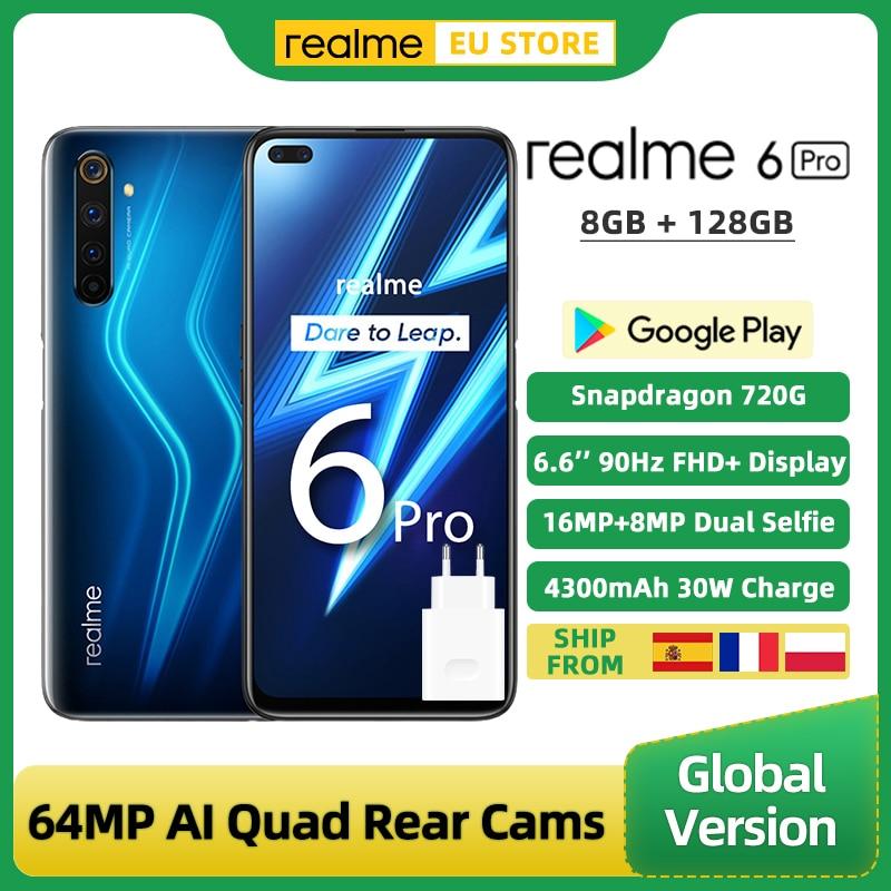 Перейти на Алиэкспресс и купить Глобальная версия Realme 6 Pro смартфон 8 ГБ 128 6,6 ''90 Гц Экран Snapdragon 720G 64MP Quad камеры 4300 мА/ч, 30 Вт Быстрая зарядка