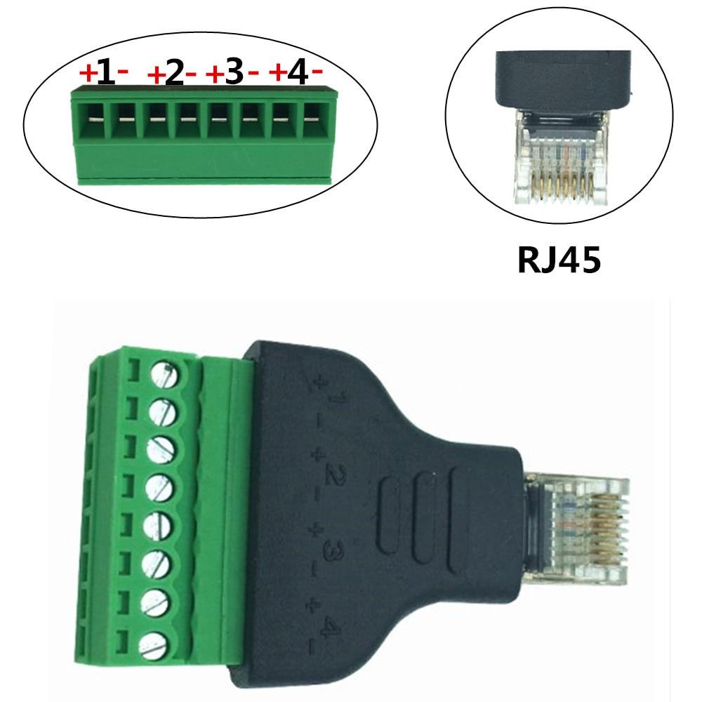 Rj45 plug para av 8 pinos parafuso terminal adaptador bloco conversor