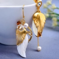 korean version of ins fashion crystal shell pearl asymmetric earrings female creative luxury wedding party mothers day gift