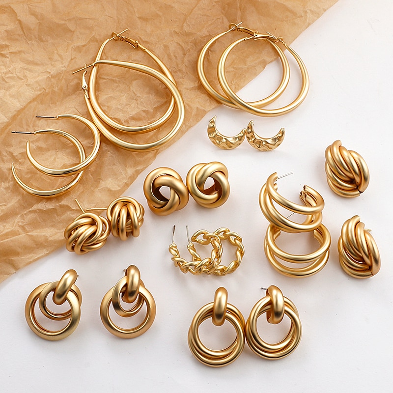 aliexpress - AENSOA 2020 New Gold Color Earrings For Women Multiple Trendy Round Geometric Drop Statement Earrings Fashion Party Jewelry Gift