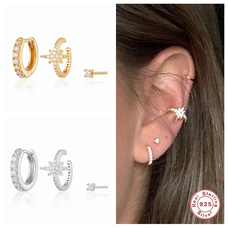 AIDE S925 стерлингового серебра серьги-кольца для женщин в стиле бохо, модные серьги-гвоздики с кристаллами Swarovski простой циркон Huggise бирюзовые ...