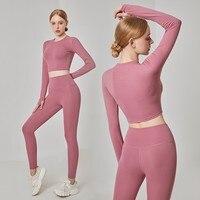 2PCS Seamless Women Yoga Set Workout Sportswear Gym Clothing Fitness Long Sleeve Crop Top High Waist Leggings Sports Suits Fashi