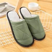women leather slippers winter waterproof plush warm indoor slippers memory foam soft couple male house slippers big size 45