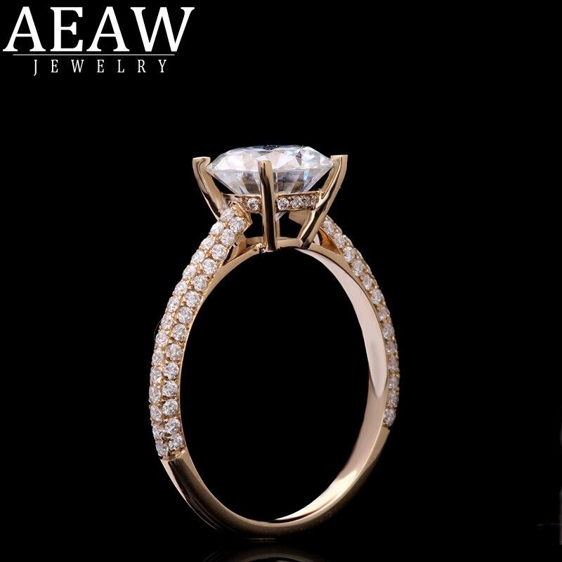 Aeew 6,5mm 1.0ct redondo de corte 14k anillo de oro amarillo molissanita de media eternidad tamaños Original deslumbrante joyería femenina