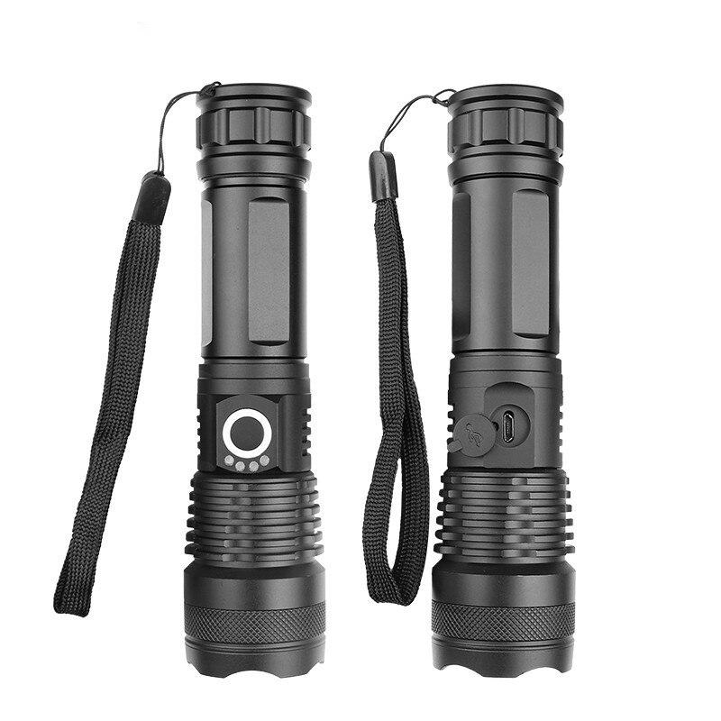 Linterna de enfoque fijo de alta intensidad de largo alcance P50/l 2 USB carga directa B de mano de alto brillo al aire libre