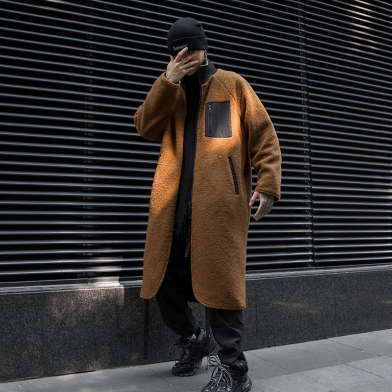 Gabardina reversible de lana para hombre, abrigo largo de lana cálida, Estilo...