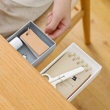Boîte plastique de bureau en forme de tiroir   Organisateur de bureau en plastique de Table caché stylo mémo boîte de rangement de papeterie, étui diviseur de tiroir de bureau, papeterie décor collant