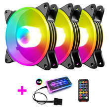 12cm Small 6 Pin Case Cooling Fan RGB Desktop Chassis Heatsink Cooler Color Changing Lamp Fan PC Desktop Radiatorfan